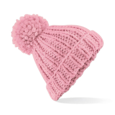 Beechfield Oversized Hand-Knitted Beanie Dusty Pink