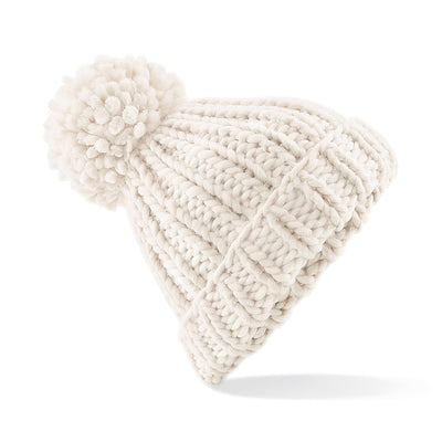 Beechfield Oversized Hand-Knitted Beanie Oatmeal