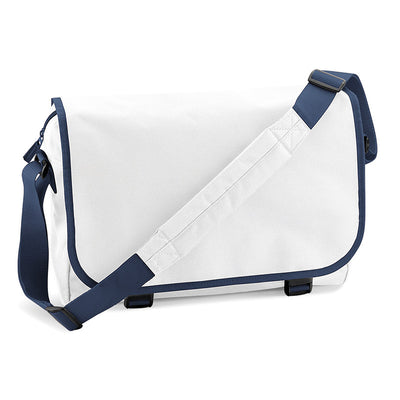 BagBase BG21 Messenger Bag White / French Navy