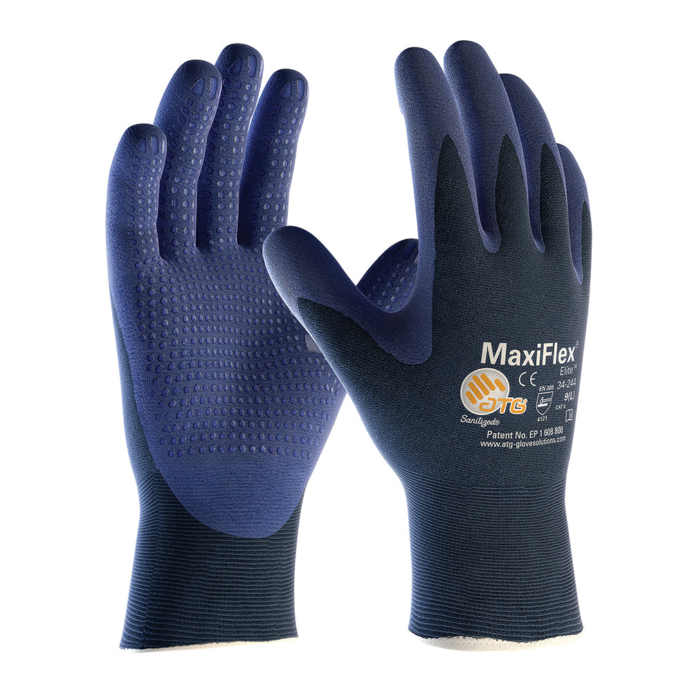 ATG MaxiFlex Elite 34-244 Nitrile Foam Palm Dotted Breathable Gloves