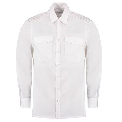 Kustom Kit KK134 Men's Long Sleeved Pilot Shirt White