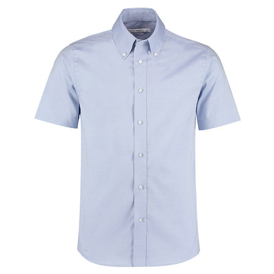 Kustom Kit KK187 Men's Short Sleeve Tailored Fit Premium Oxford Shirt Light Blue
