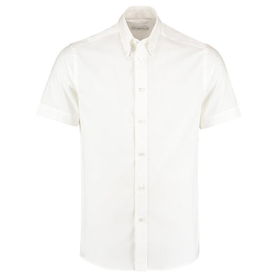 Kustom Kit KK187 Men's Short Sleeve Tailored Fit Premium Oxford Shirt White