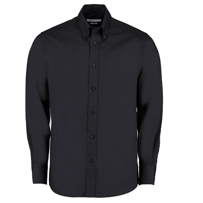 Kustom Kit KK188 Men's Long Sleeve Tailored Fit Premium Oxford Shirt Black