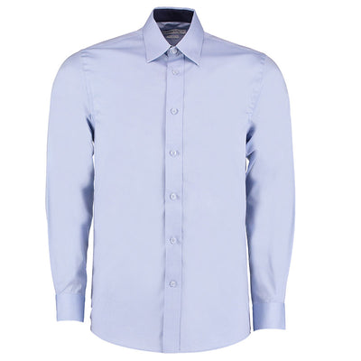 Kustom Kit KK189 Men's Long Sleeve Contrast Premium Oxford Shirt Light Blue / Navy