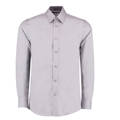Kustom Kit KK189 Men's Long Sleeve Contrast Premium Oxford Shirt Silver Grey / Charcoal