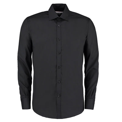 Kustom Kit KK192 Men's Slim Fit Long Sleeve Business Shirt Black