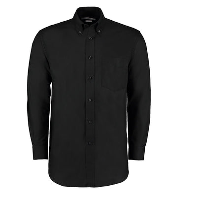 Kustom Kit KK351 Men's Workwear Long Sleeve Oxford Shirt Black