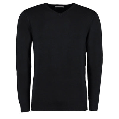 Kustom Kit KK352 Men's Arundel Long Sleeve V-Neck Sweater Black