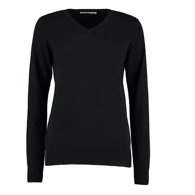 Kustom Kit KK353 Ladies' Arundel Long Sleeve V-Neck Sweater Black