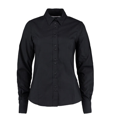 Kustom Kit KK388  Ladies' City Long Sleeve Business Shirt Black