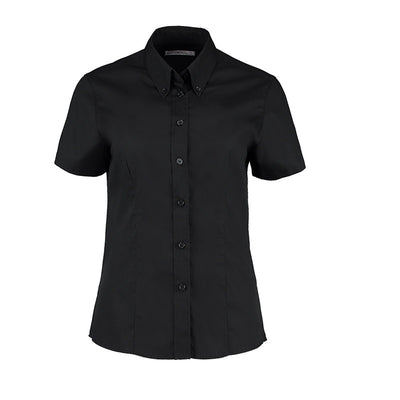 Kustom Kit KK701 Ladies' Corporate Short Sleeve Oxford Shirt Black