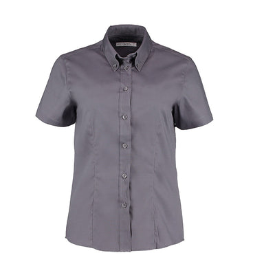 Kustom Kit KK701 Ladies' Corporate Short Sleeve Oxford Shirt Charcoal