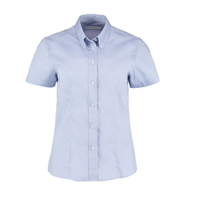Kustom Kit KK701 Ladies' Corporate Short Sleeve Oxford Shirt Light Blue