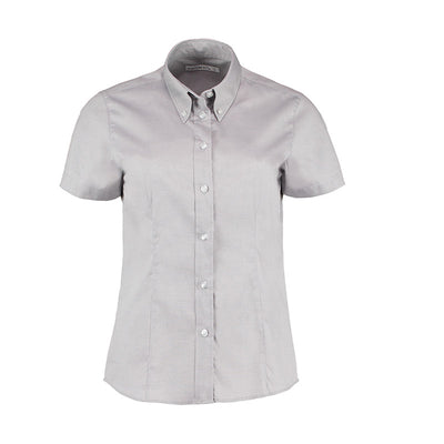 Kustom Kit KK701 Ladies' Corporate Short Sleeve Oxford Shirt Silver Grey
