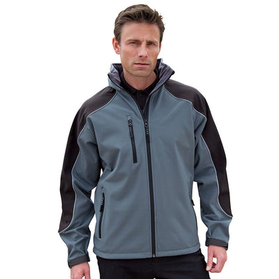Result R118X Hooded Softshell Jacket Grey / Black