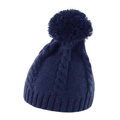 Result Winter Essentials R149X Cable Knit Pom Pom Beanie Navy