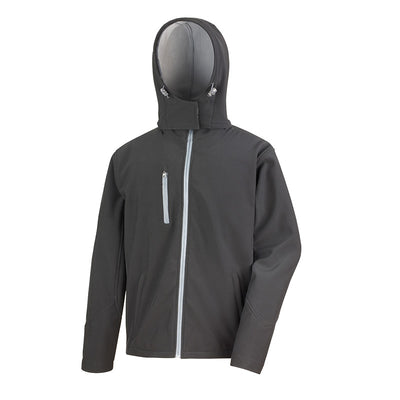 Result Core R230M Mens TX Performance Hooded Softshell Jacket Black / Grey