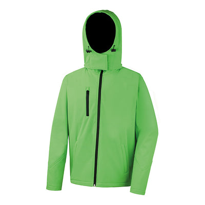 Result Core R230M Mens TX Performance Hooded Softshell Jacket Vivid Green / Black