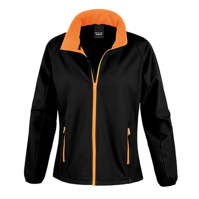 Result Core R231F Ladies Printable Softshell Jacket Black / Orange