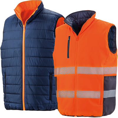 Result Safe-Guard Reversible Soft Padded Safety Gilet Fluorescent Orange / Navy