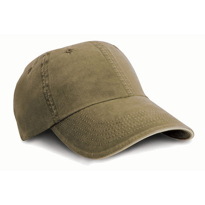 Result Headwear RC54 Washed Fine Line Cotton Cap Olive / Stone