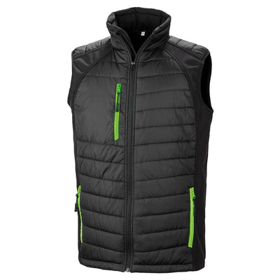 Result Bodywarmer Jacket Black & Lime R238X