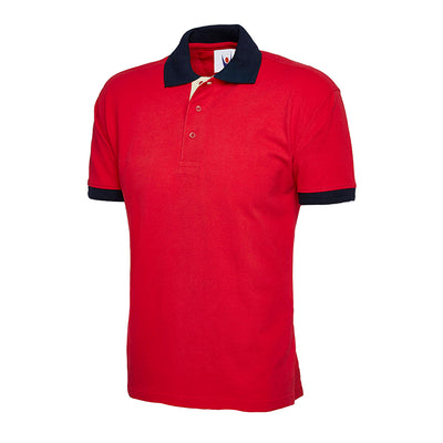 Uneek UC107 Contrast Polo Shirt Red / Navy