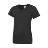 Uneek UC319 Ladies Classic V Neck T-Shirt Black