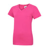 Uneek UC319 Ladies Classic V Neck T-Shirt Hot Pink