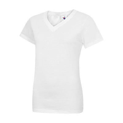 Uneek UC319 Ladies Classic V Neck T-Shirt White