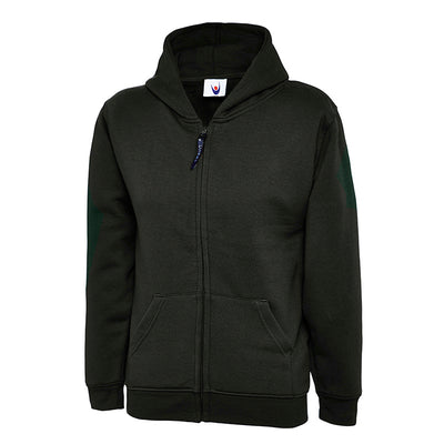 Uneek UC506 Childrens Classic Full Zip Hooded Sweatshirt Black