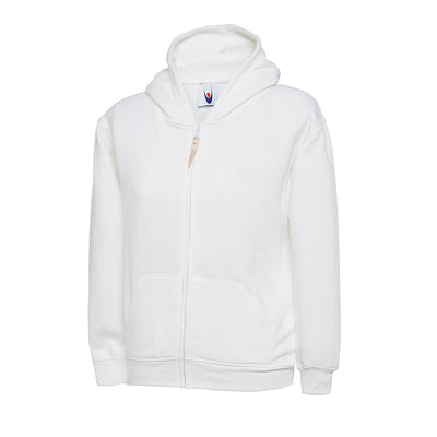 Uneek UC506 Childrens Classic Full Zip Hooded Sweatshirt White