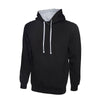 Uneek UC507 Contrast Hooded Sweatshirt Black / Heather Grey