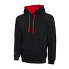 Uneek UC507 Contrast Hooded Sweatshirt Black / Red