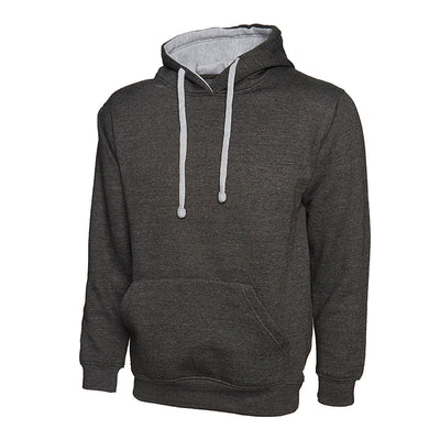 Uneek UC507 Contrast Hooded Sweatshirt Charcoal / Heather Grey