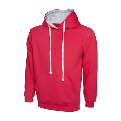 Uneek UC507 Contrast Hooded Sweatshirt Fuchsia / Heather Grey