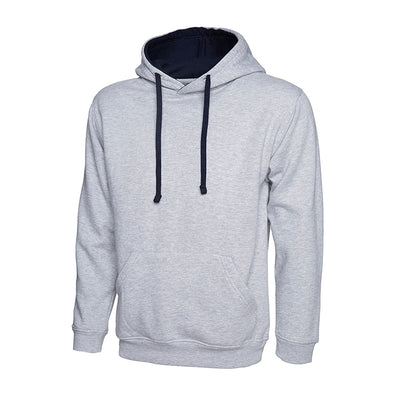 Uneek UC507 Contrast Hooded Sweatshirt Heather Grey / Navy
