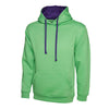 Uneek UC507 Contrast Hooded Sweatshirt Lime / Purple