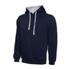 Uneek UC507 Contrast Hooded Sweatshirt Navy / Heather Grey