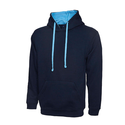 Uneek UC507 Contrast Hooded Sweatshirt Navy / Sky