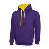 Uneek UC507 Contrast Hooded Sweatshirt Purple / Yellow
