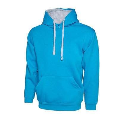 Uneek UC507 Contrast Hooded Sweatshirt Sapphire / Heather Grey