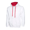 Uneek UC507 Contrast Hooded Sweatshirt White / Fuchsia