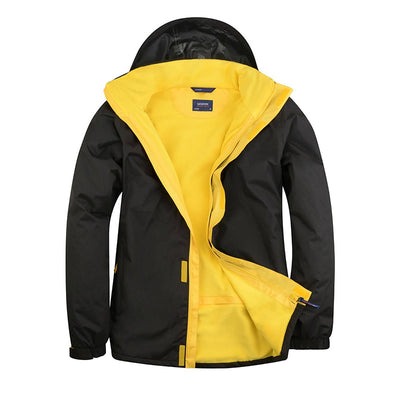 Uneek UC621 Deluxe Outdoor Jacket Black / Submarine Yellow