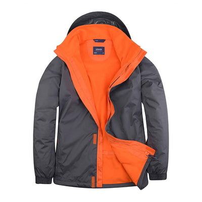 Uneek UC621 Deluxe Outdoor Jacket Deep Grey / Fiery Orange