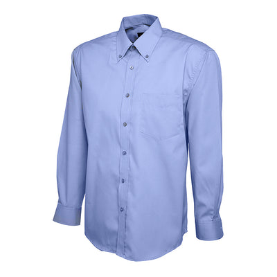Uneek UC701 Mens Pinpoint Oxford Full Sleeve Shirt Mid Blue