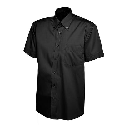 Uneek UC702 Mens Pinpoint Oxford Half Sleeve Shirt Black