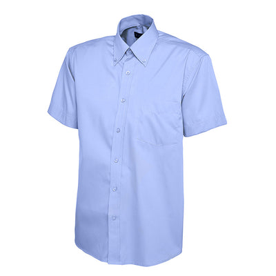 Uneek UC702 Mens Pinpoint Oxford Half Sleeve Shirt Mid Blue