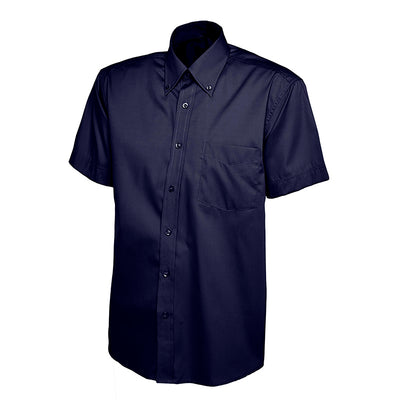 Uneek UC702 Mens Pinpoint Oxford Half Sleeve Shirt Navy